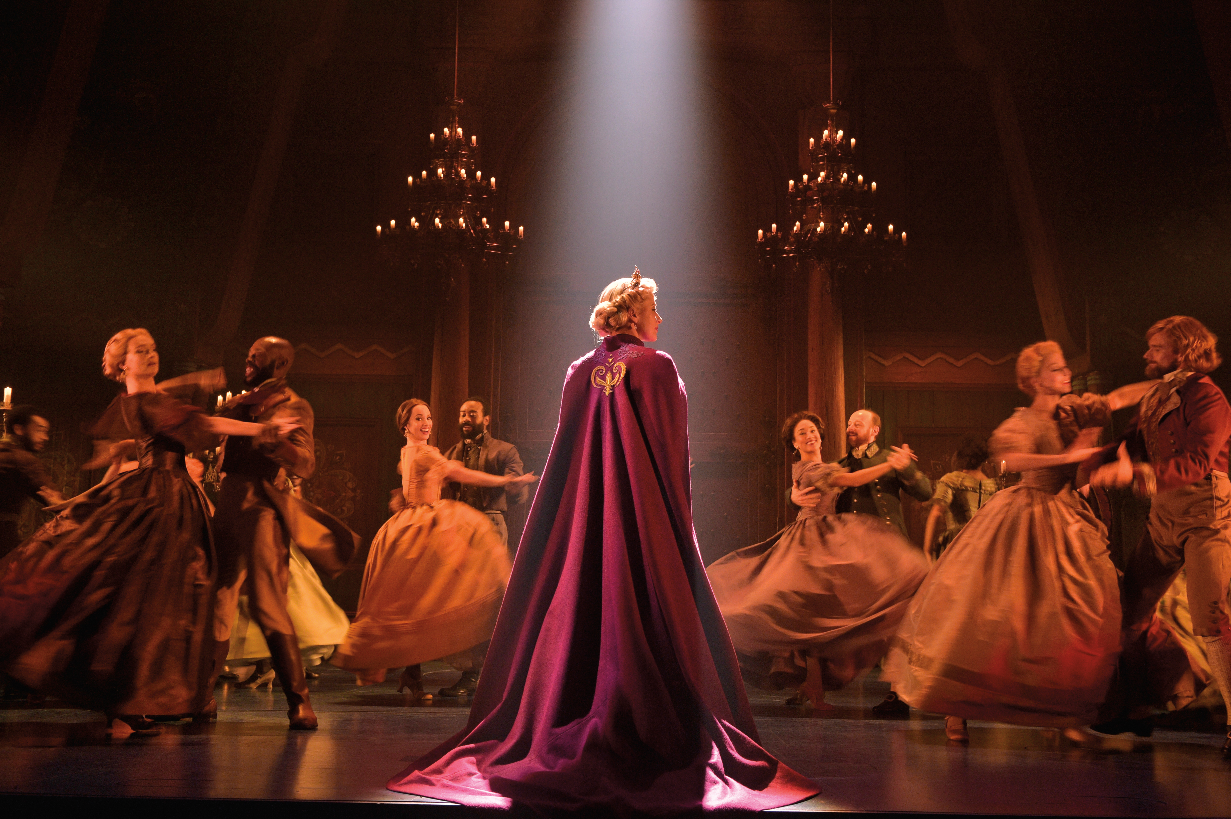 Caissie Levy (Elsa) and the Company of FROZEN on Broadway - Waltz. Photo by Deen van Meer